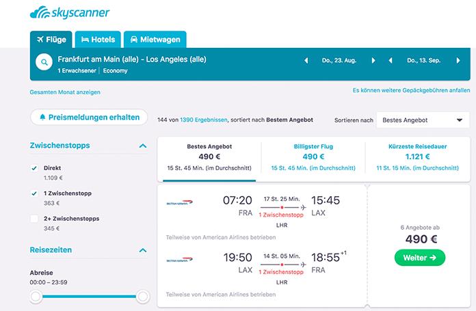 Skyscanner –Flug-Preisvergleich